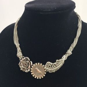 Fossil Silver Tone Multi Chain Necklace Bird Rose